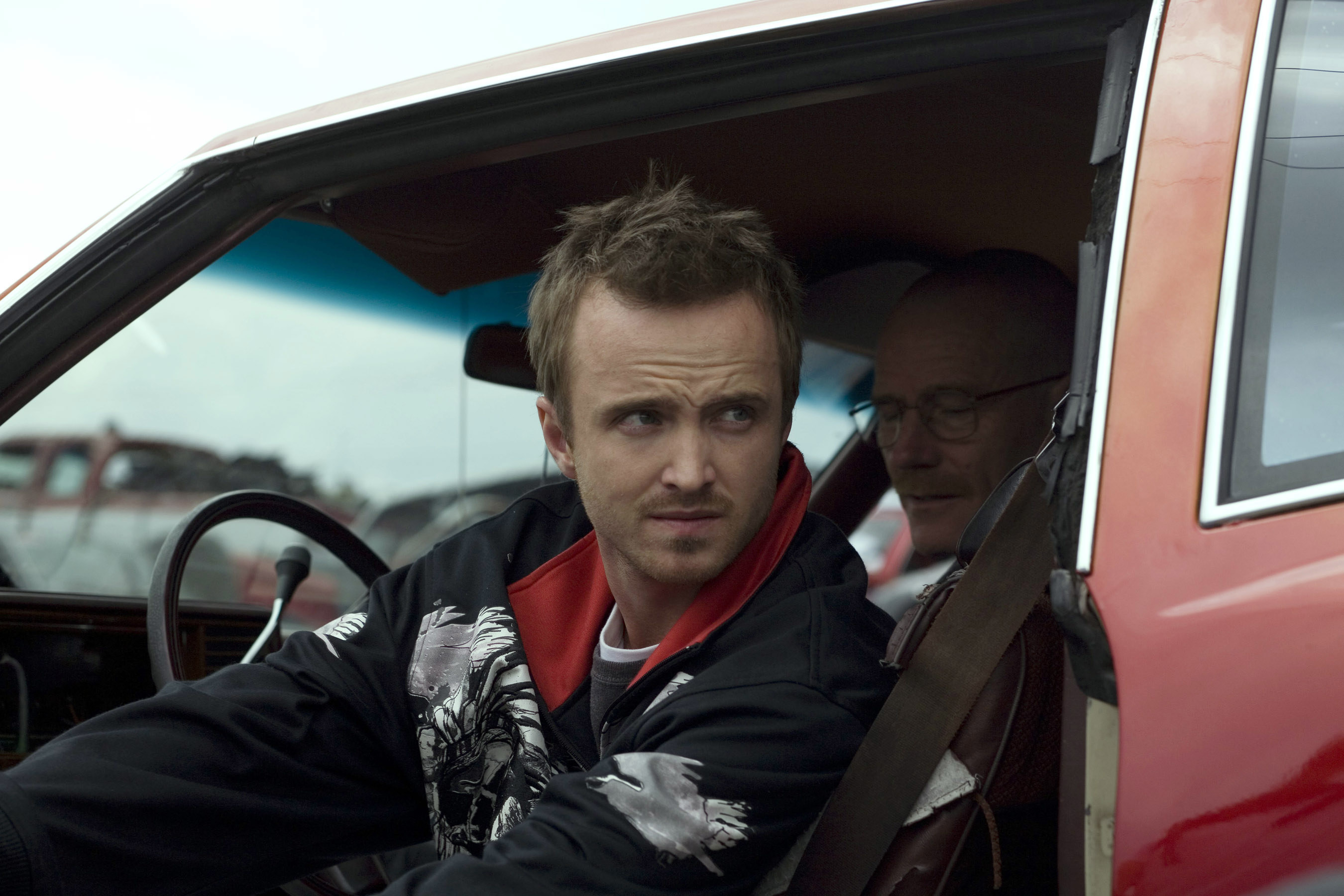 Jesse in a car with Walter White