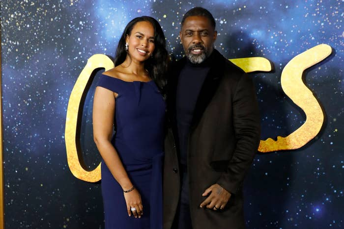 """Sabrina Dhowre and Idris Elba at the world premiere of """"Cats"""" at Alice Tully Hall, Lincoln Center, in New York City"""