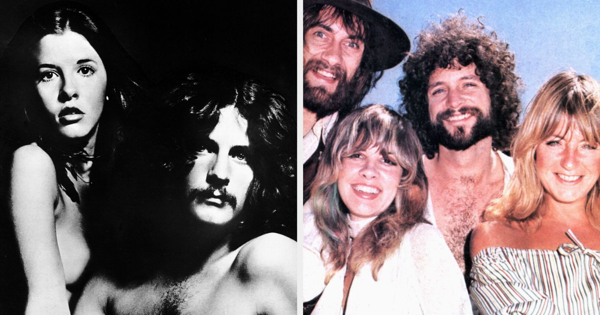 """Stevie Nicks and Lindsey Buckingham on the cover of their album, """"Buckingham Nicks;"""" Fleetwood Mac posing for a picture together in the mid-1970s"""
