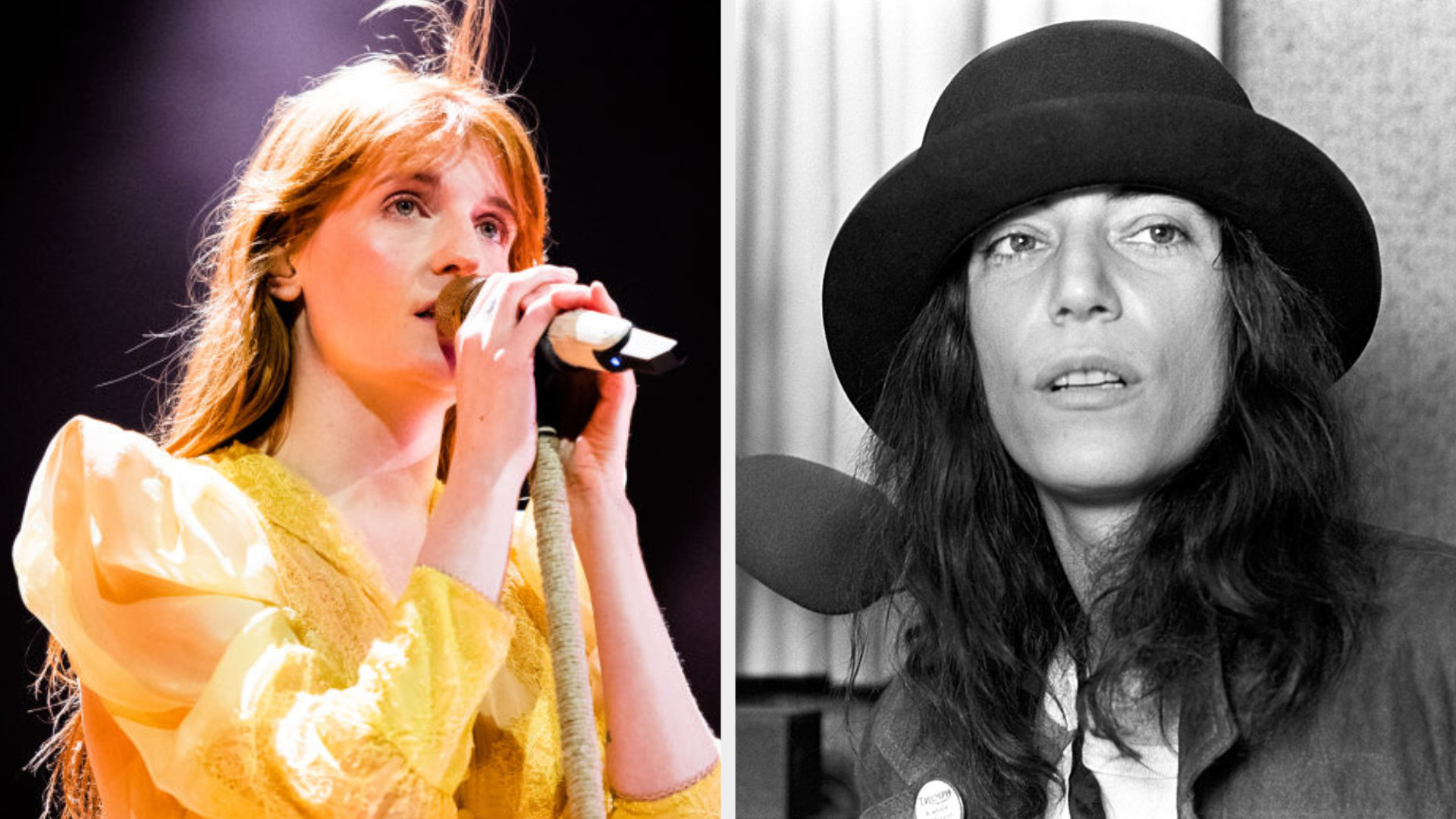 Florence Welch performing live in concert in 2019; Patti Smith wearing a hat while being interviewed on a radio show in the late '70s