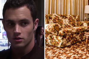 """Humphrey from """"Gossip Girl"""" is on the left with a retro style couch on the right"""