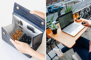 a lunch bag with granola and berries; a model using a floating balcony table