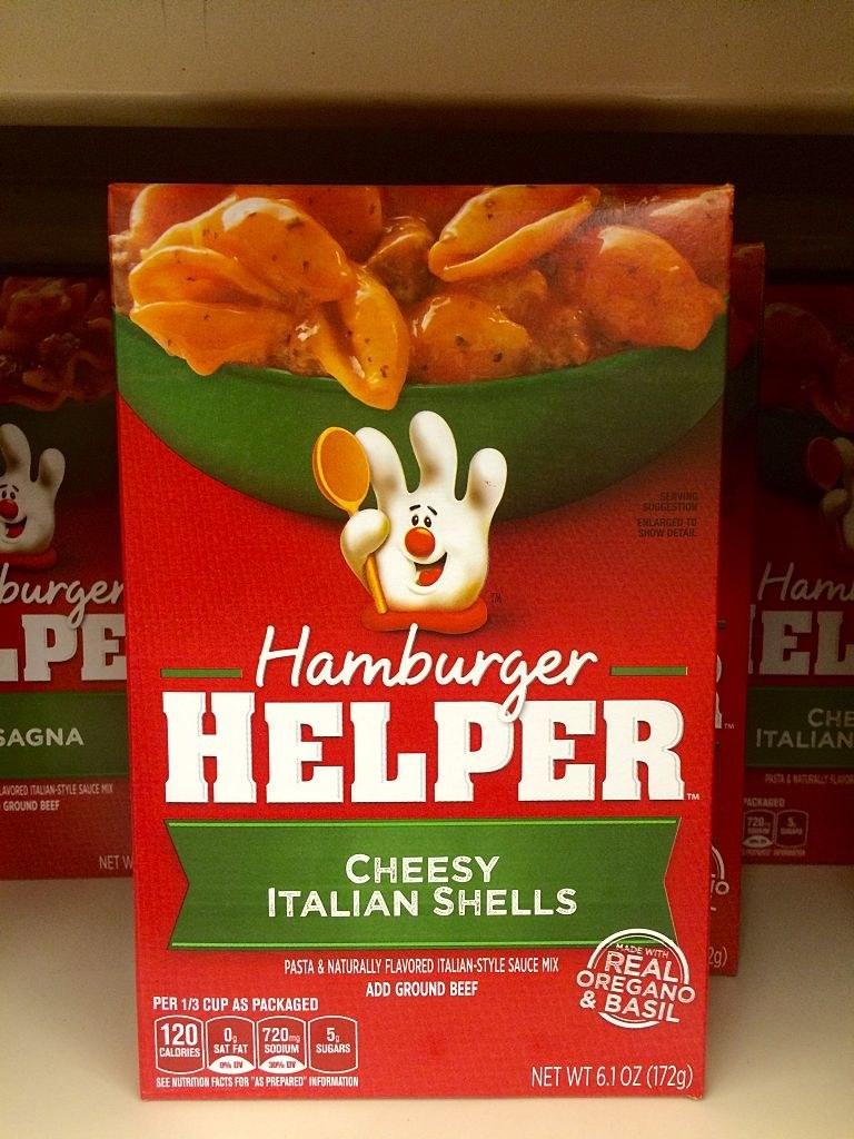 A box of Hamburger Helper, with its infamous hand mascot