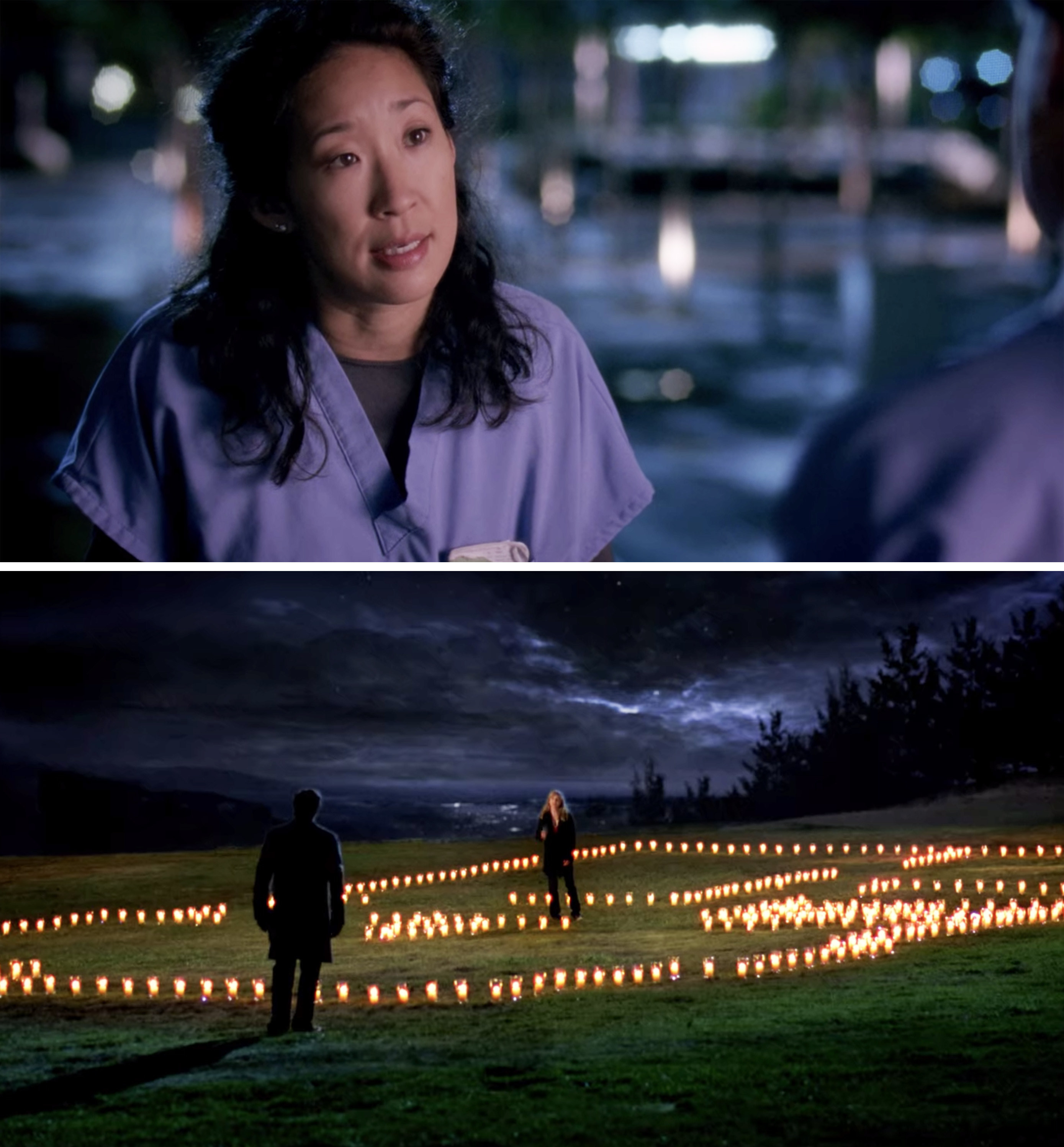 Cristina talking to Meredith, and Meredith and Derek with the house of candles
