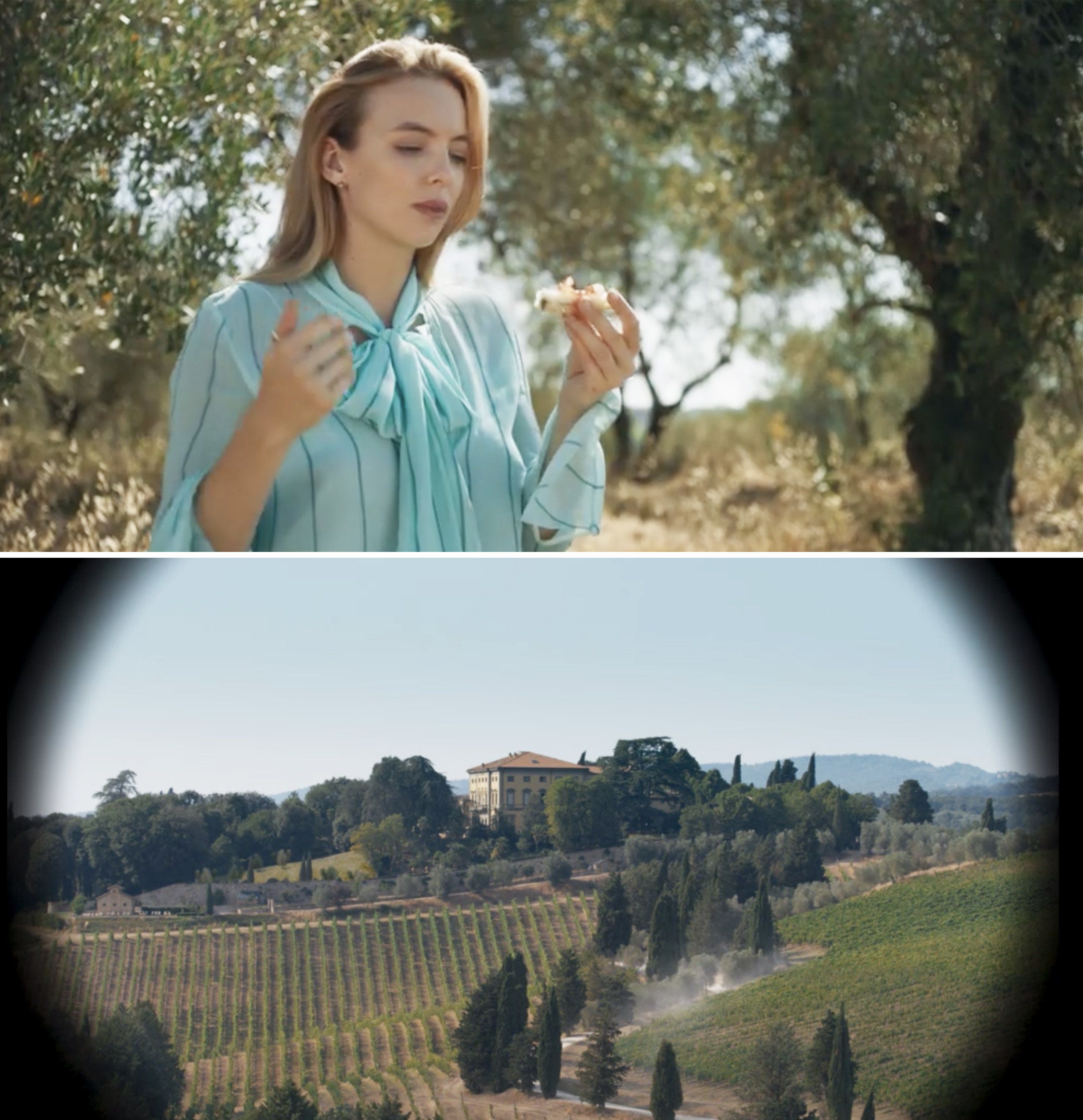 Villanelle standing outside a gorgeous vineyard in Tuscany