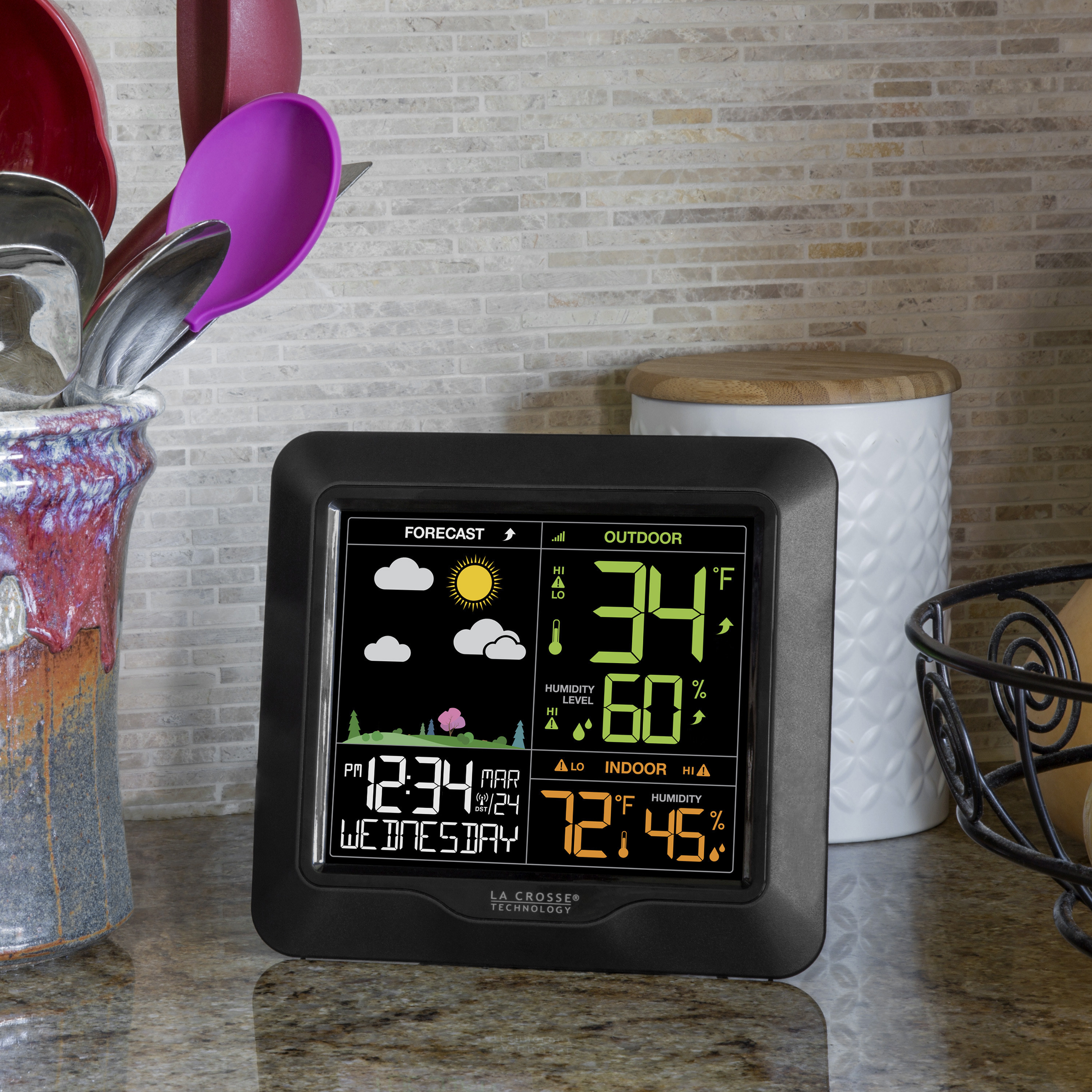 The weather monitor on a countertop