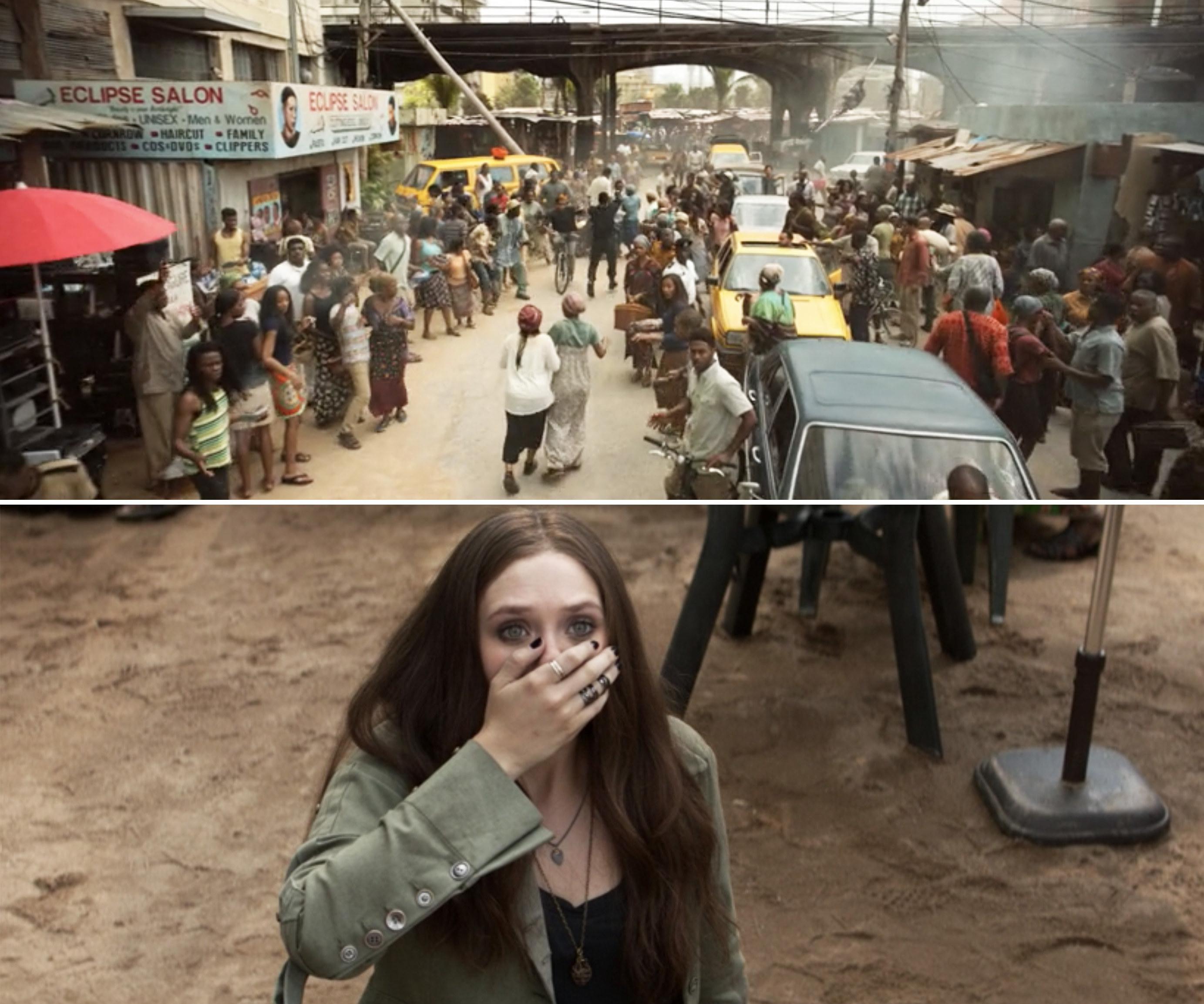 Wanda looking shocked and a Lagos market