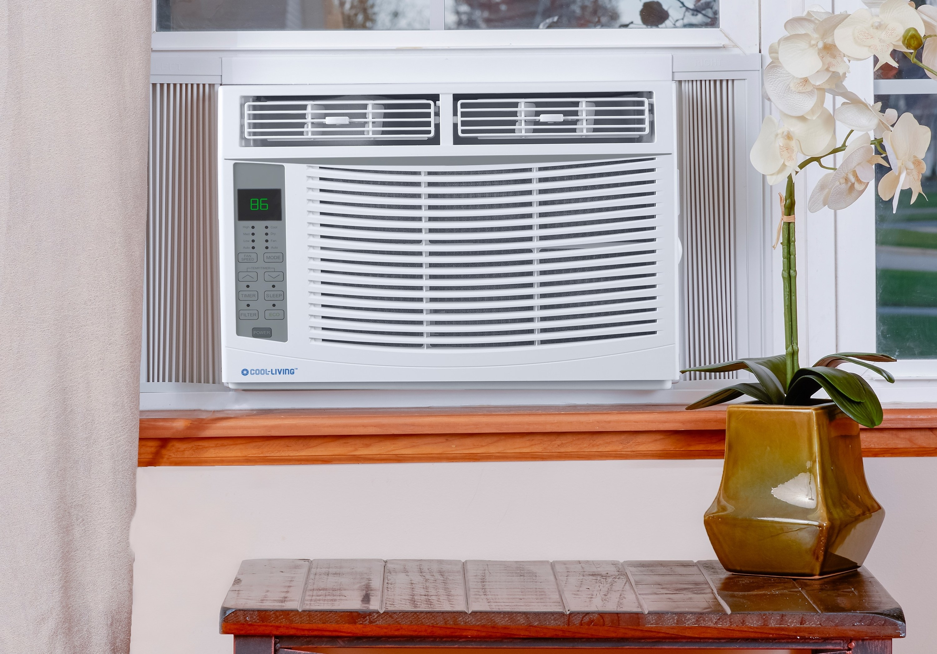 The A/C, installed in a window