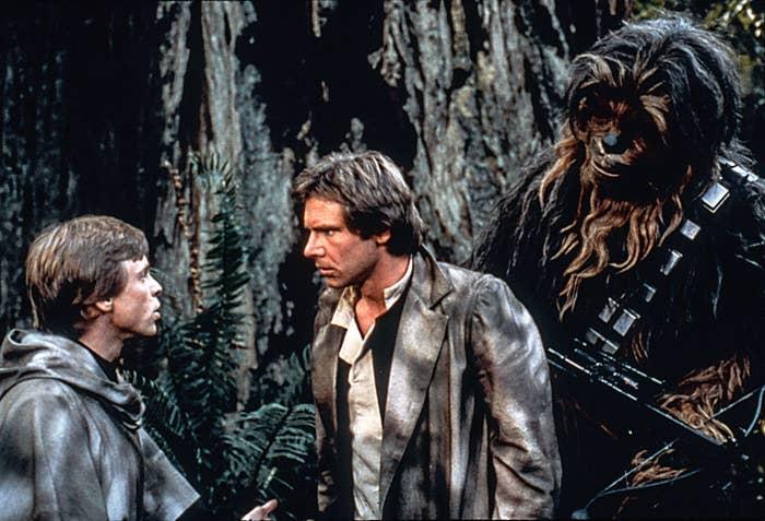 Luke, Han, and Chewbacca in the Return of the Jedi