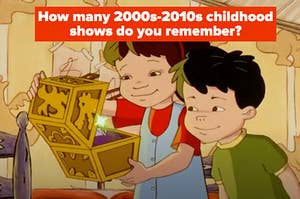 """Two kids are holding open a box with a caption that reads: """"How many 2000s-2010s childhood shows do you remember?"""""""
