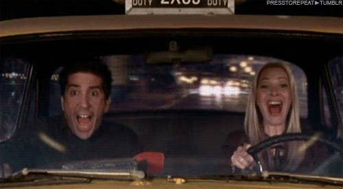Characters screaming in a cab