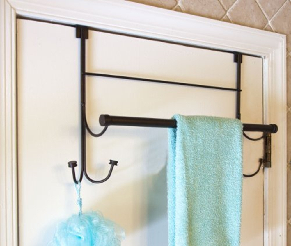 An over-the-door hanger with towel racks and hooks