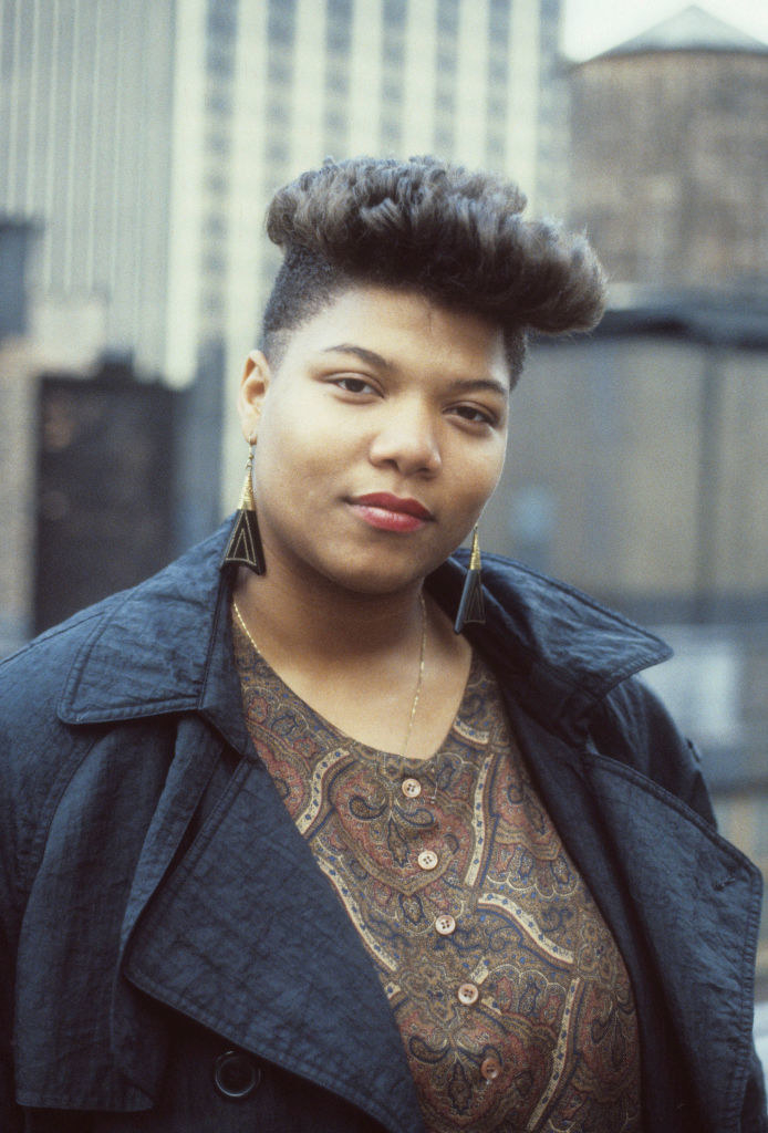 Queen Latifah posing for a portrait in New York City in 1989
