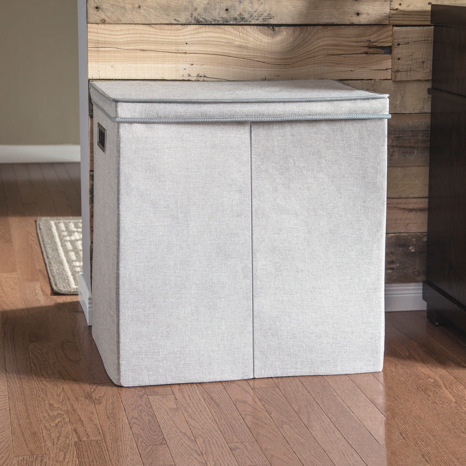 An image of a collapsible double sorter bathroom laundry hamper