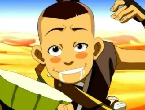 Sokka drools as he offers a piece of cactus to quench thirst.