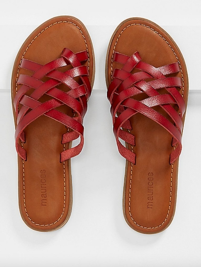 the red strappy flat sandal in leather