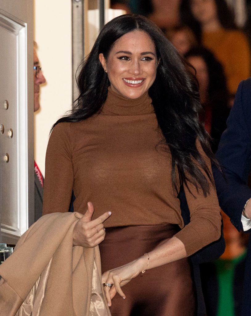 Markle in a monochrome outfit visiting Canada House