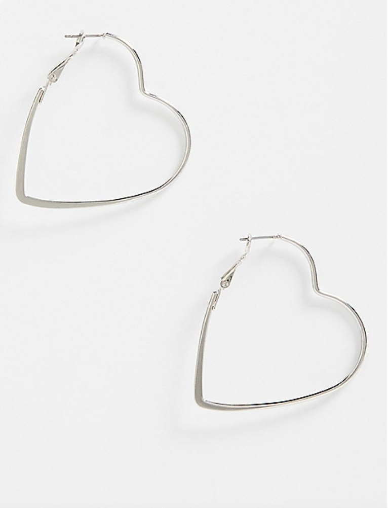 the pair of silver heart hoops