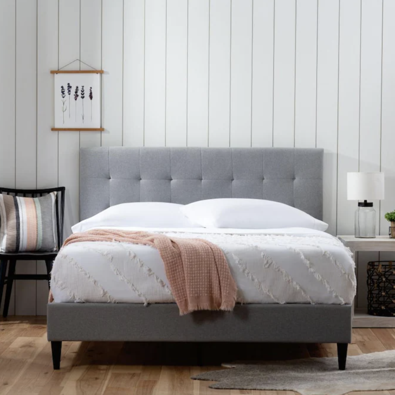 Gray Brookside full-size bed placed in bedroom
