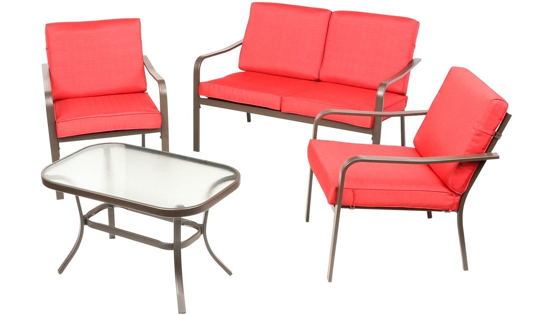 4-piece patio furniture set in red