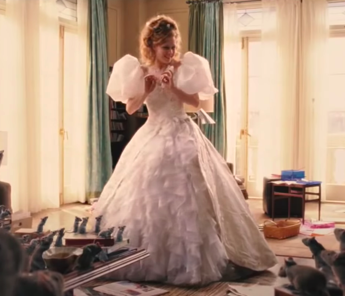 Giselle wearing a huge ballgown with poofy cap sleeves