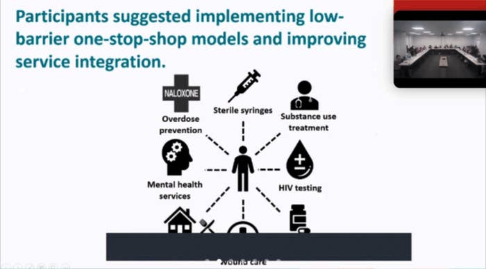 """Slide says """"Participants suggested implementing low-barrier one-stop-shop models and improving service integration"""""""