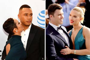 Grace Gealey and Trai Byers, Colin Jost and Scarlet Johansson