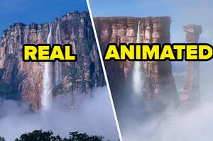 real waterfall and animated