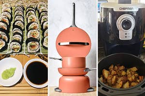 rolled sushi a cookware set and an air fryer with golden brown potatoes