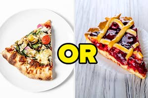 """A slice of pizza is on the left with """"or"""" written in the center and a slice of pie on the right"""