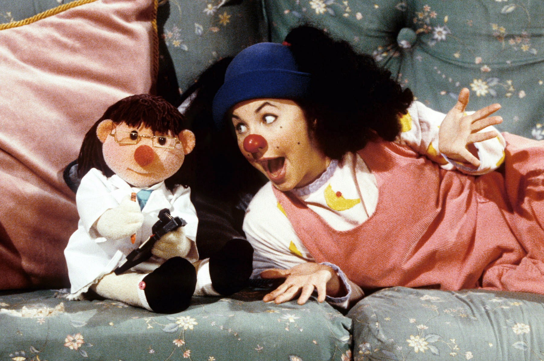 Molly Dolly and Loonette the Clown on couch
