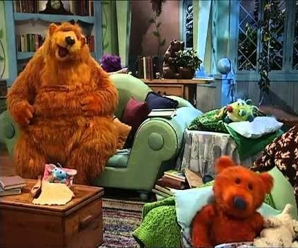Bears and animal friends having sleepover