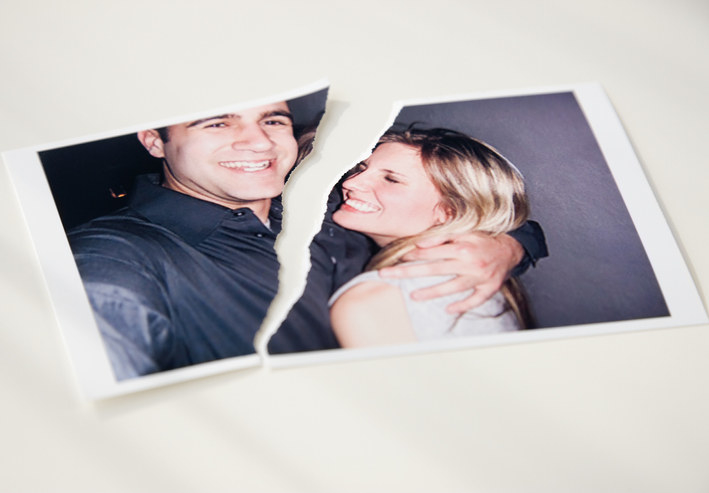 Photograph of a couple ripped in half