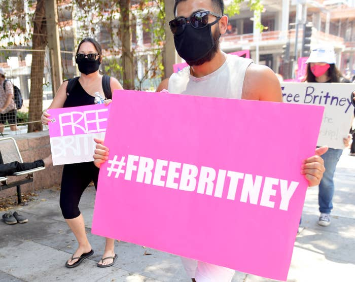 """A person holding a """"#FreeBritney"""" poster"""