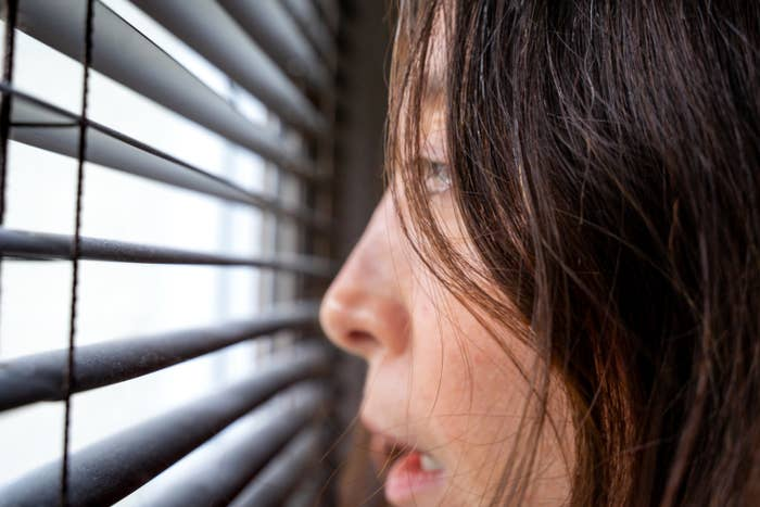 A person looking outside through the blinds of a window