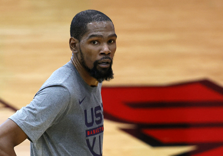 Kevin Durant wearing a USA basketball shirt