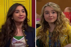Riley is standing in front of lockers on the left and Maya on the right sitting at a desk
