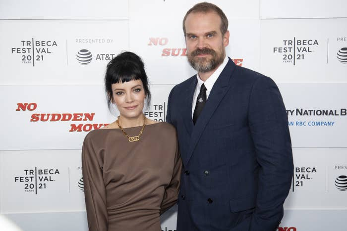 Lily Allen and David Harbour attend 'No Sudden Move' during the 2021 Tribeca Festival