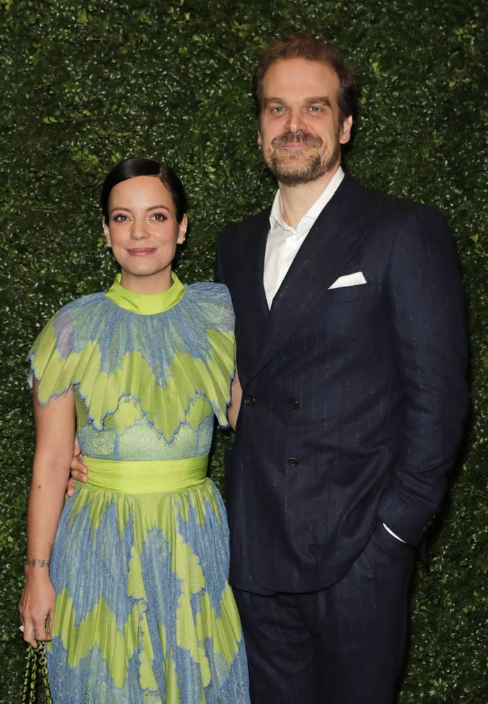 Lily Allen and David Harbour arrive at the Charles Finch & CHANEL Pre-BAFTA Party