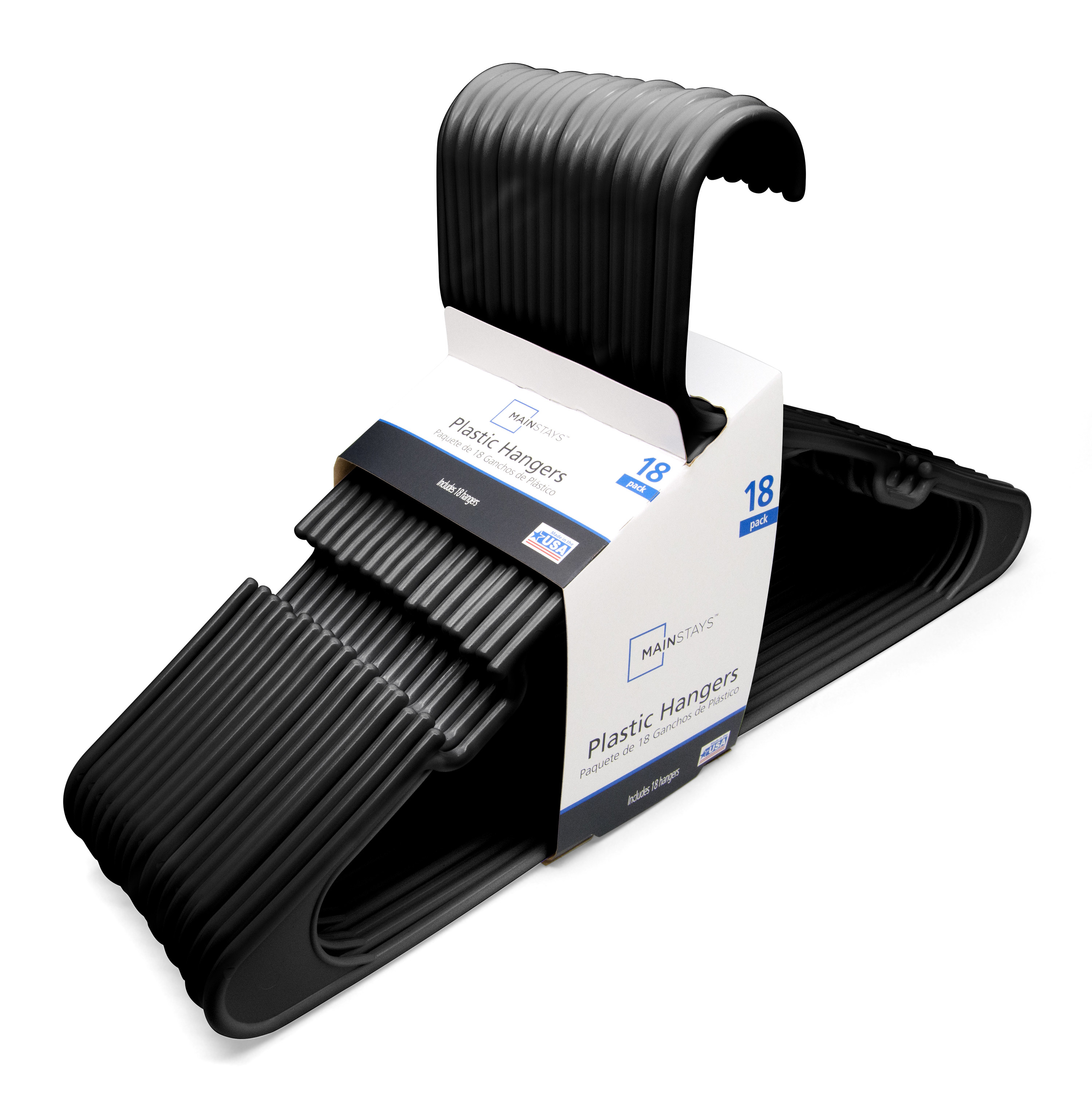 The 18-pack of black plastic clothing hangers