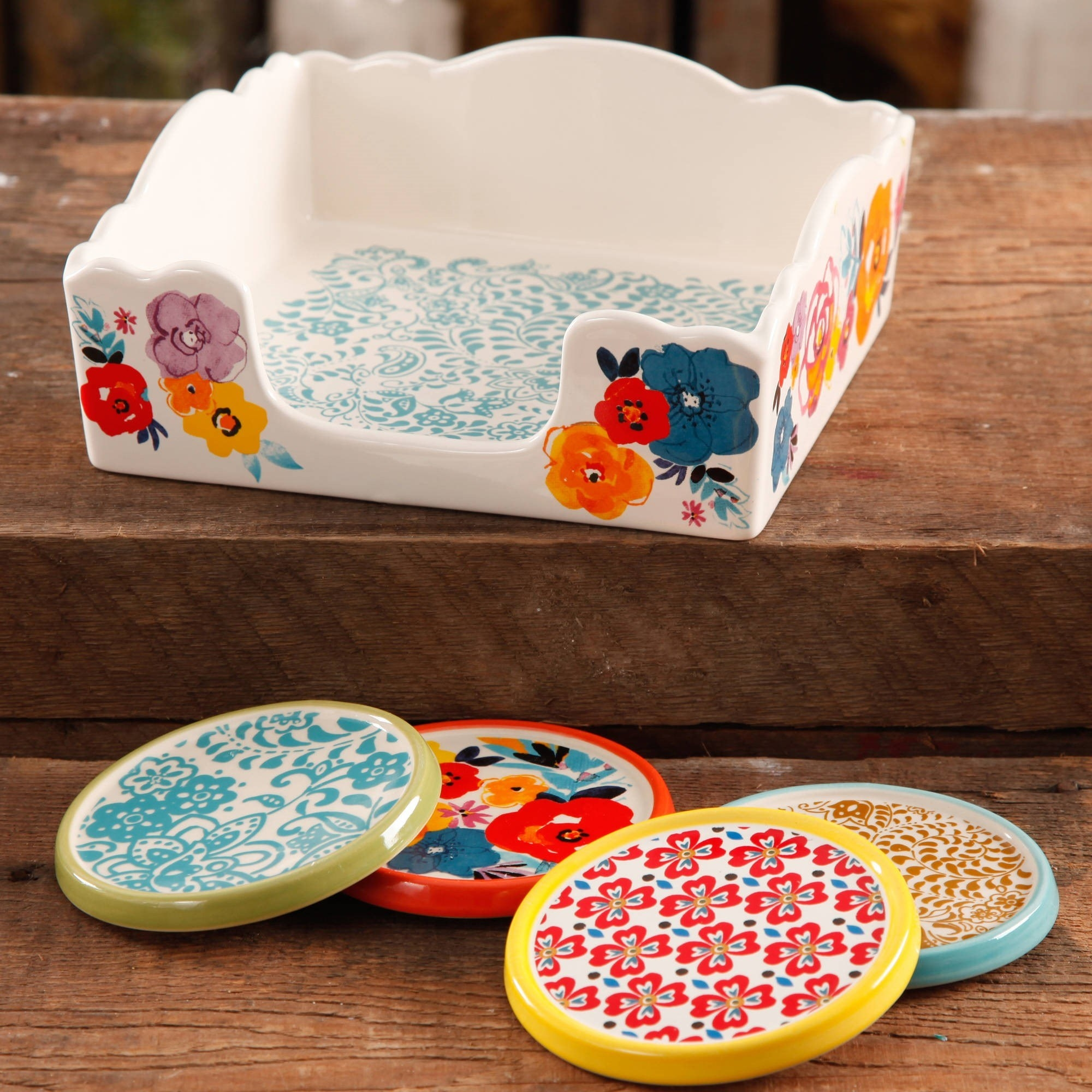 The flea market stoneware coasters and napkin box set