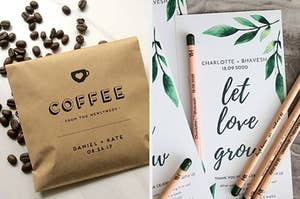 a coffee bag favor; a seed stick and instruction sheet favor