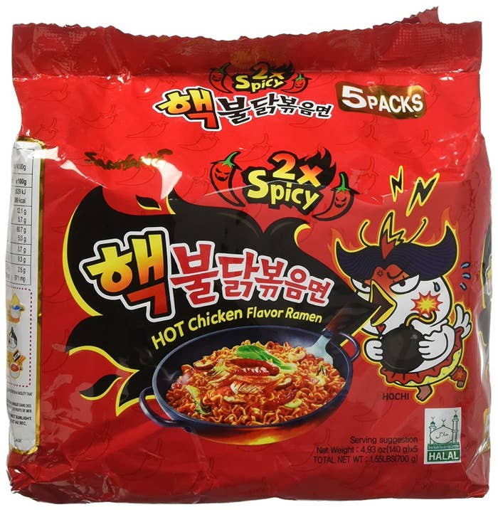 A pack of red Samyang spicy ramen in hot chicken flavour.