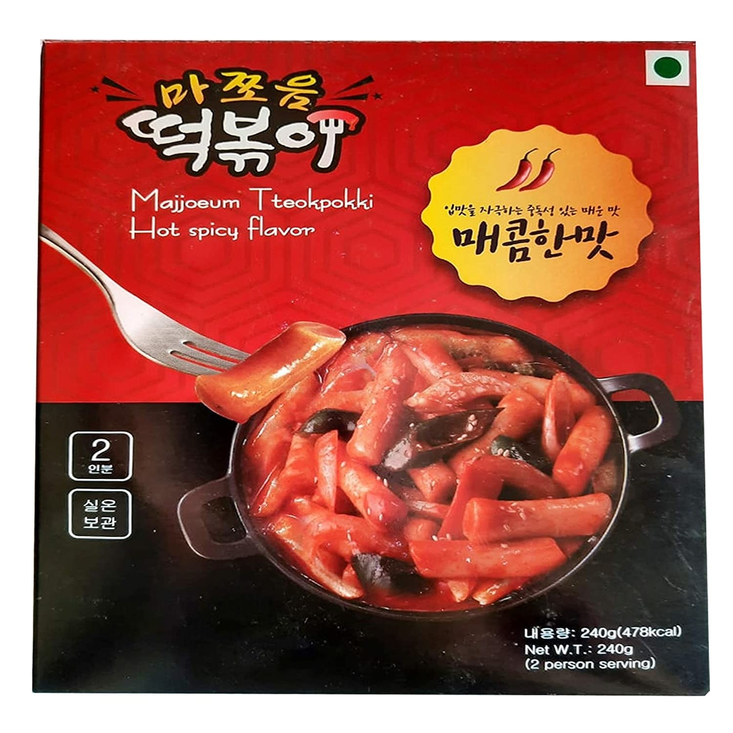 A packet of ready-to-eat Tteokbokki in a hot spicy flavour.