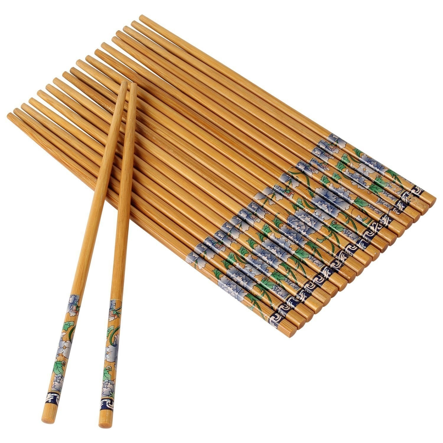 10 sets of bamboo chopsticks with a pretty blue floral design on the base.