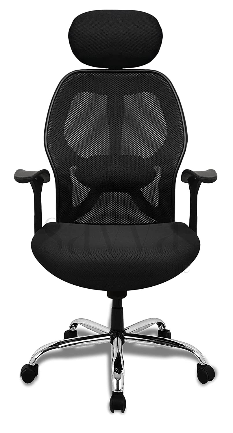Black ergonomic chair with elbow supports and wheels