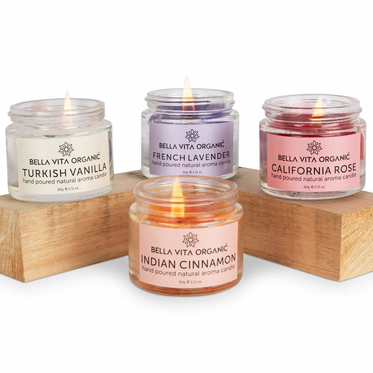 4 candle jars in vanilla, lavender, rose and cinnamon