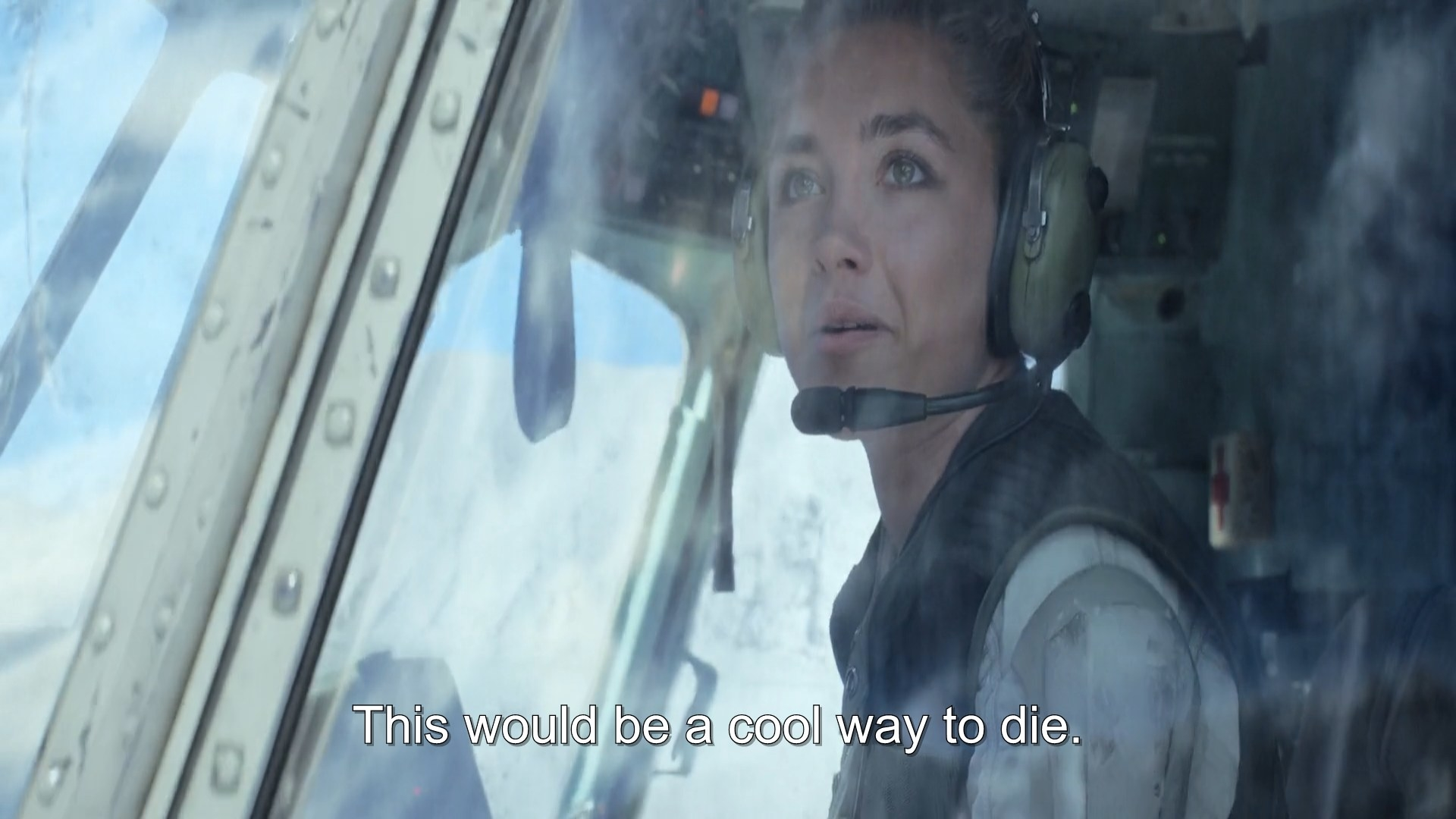 A woman flying helicopter