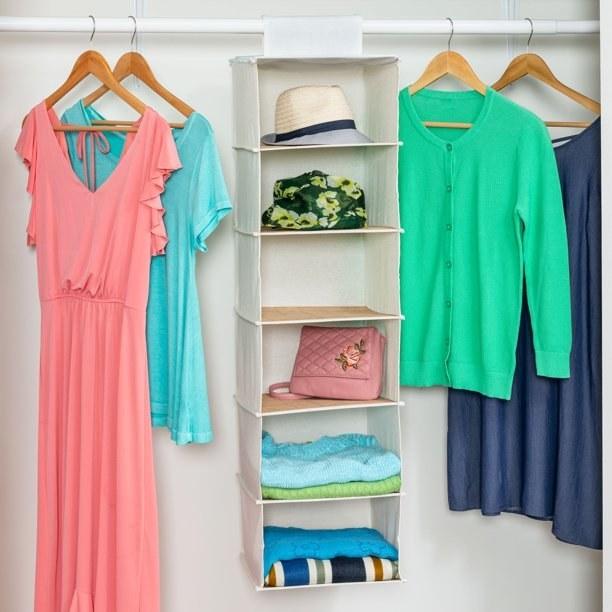 The 6-shelf organizer in use in a closet