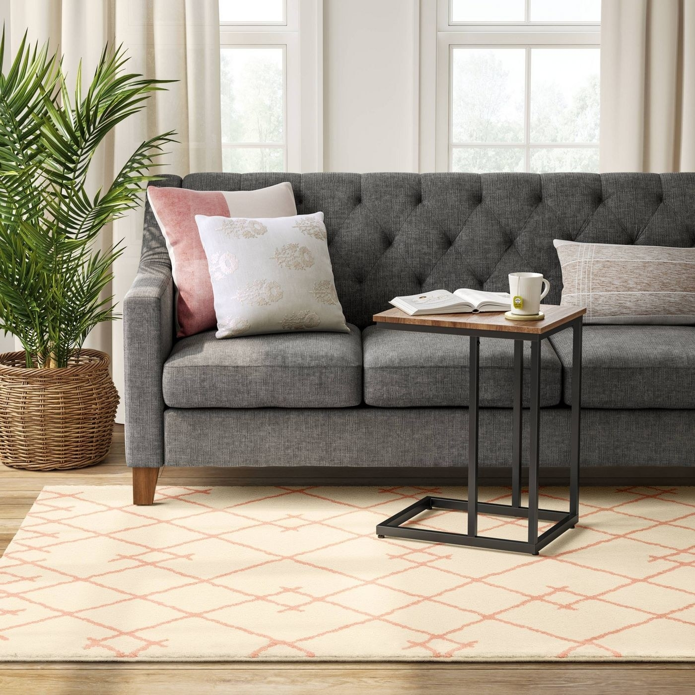 The blush pink floor rug